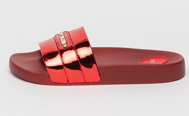 Love Moschino Papuci cu aspect metalizat si logo