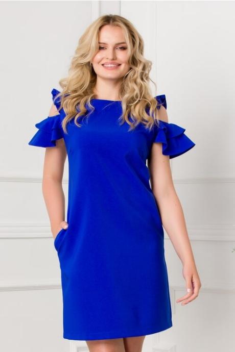 Rochie LaDonna albastra cu decupaje la umeri si buzunare functionale