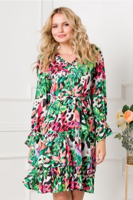 Rochie Marcy cu imprimeu verde floral